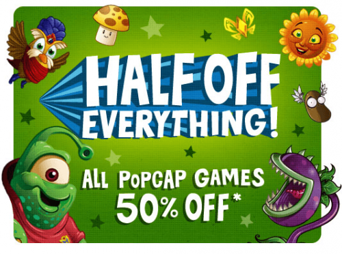 Half off download games on PopCap.com
