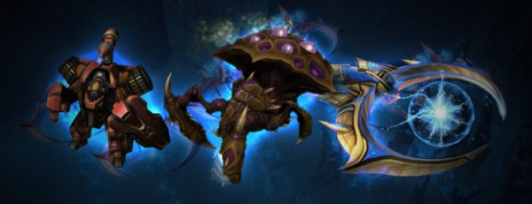 Left to Right: Terran Hellbat, Zerg Swarm Host, Protoss Tempest