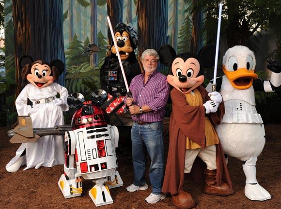 "Filmmaker George Lucas meets ""Star Wars""-inspired Disney characters at Walt Disney World Resort in Florida"