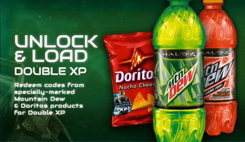 Earn double Halo 4 XP by drinking Mountain Dew and eating Doritos