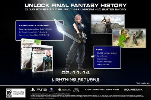 Lightning Returns: Final Fantasy XIII pre-orderers net Cloud's costume and Buster Sword
