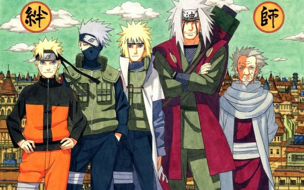 From Left To Right: Naruto, Kakashi, Minato, Jiraiya, The Third.