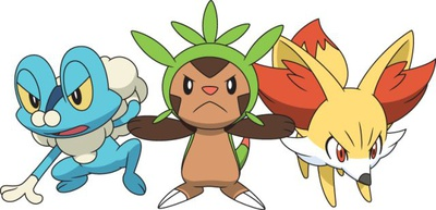 Froakie, Chespin and Fennekin Anime Style!