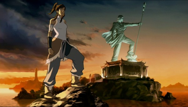 The new Avatar Korra with the statue of Aang.