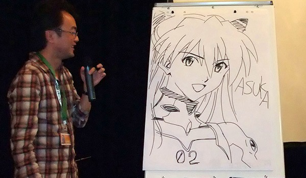 Mr. Matsubara and a drawing of Asuka.
