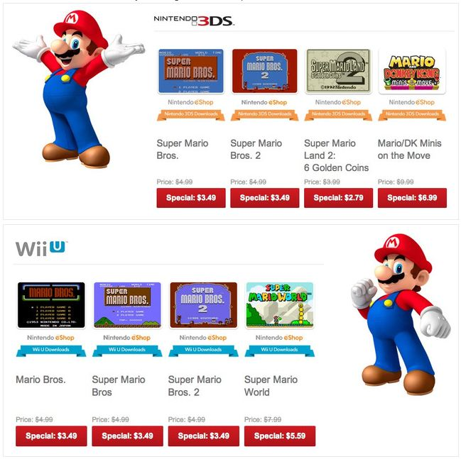 - Mario 3DS and Wii U Nintendo eShop Sale -