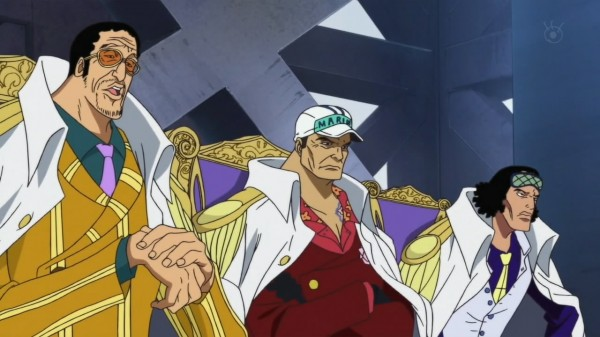 - Kizaru, Akainu and Aokiji -