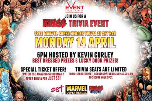 Marvel Super Heroes Trivia Night at Event Cinemas George St. on April 14