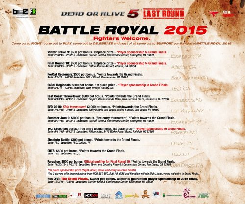 Dead or Alive 5: Last Round Battle Royale 2015 Tournament Schedule Announced