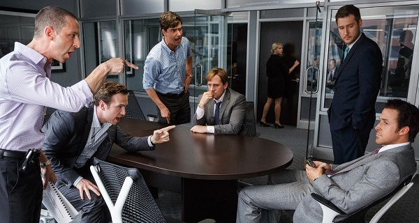 Left to right: Jeremy Strong plays Vinnie Daniel, Rafe Spall plays Danny Moses, Hamish Linklater plays Porter Collins, Steve Carell plays Mark Baum, Jeffry Griffin plays Chris and Ryan Gosling plays Jared Vennett in The Big Short from Paramount Pictures and Regency Enterprises