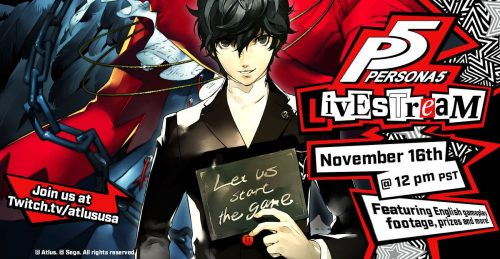 Persona 5 English Gameplay to Debut on November 16 Livestream