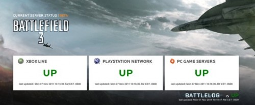 Battlefield 3 server update page now available