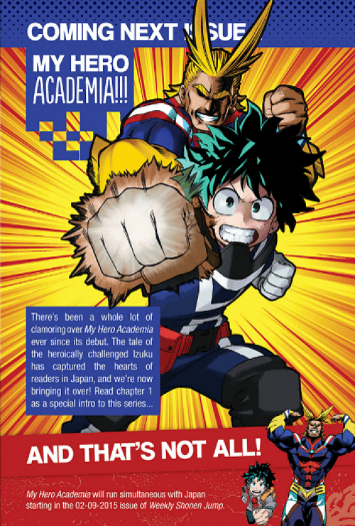 My Hero Academia to be published in Viz's Weekly Shonen Jump starting next week