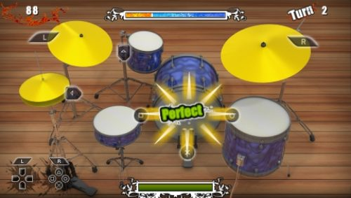 Look totally awesome on the bus while playing Drums Challenge!