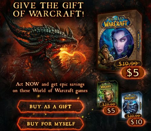 Crazy deals for World of Warcraft and it's expansions
